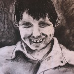 Boy with Joy Charcoal Drawing